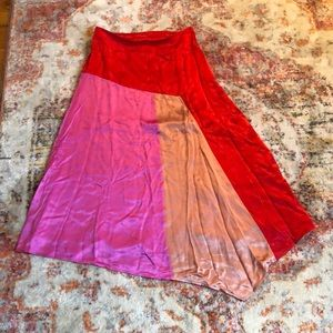 NWOT asymmetrical color block silk skirt